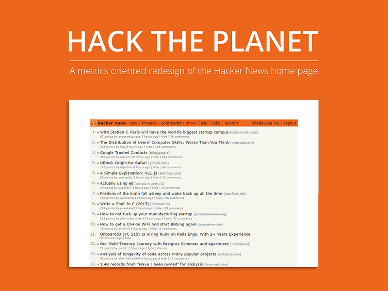 Hack the Planet - A focused redesign of Hacker News